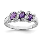 925 Sterling Silver Purple Amethyst Diamond Band Ring Size 7.00 Stone Gemstone Fine Jewelry Ideal Gifts