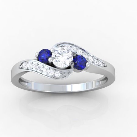 Dazzlingrock Collection 14K Round Blue Sapphire And White Diamond Swirl Engagement 3 Stone Bridal Ring, White Gold, Size