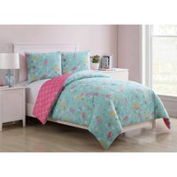 VCNY Home Aqua/Pink Mermaid Princess 2-/3-piece Reversible Kids Bedding Comforter Set, Shams Included
