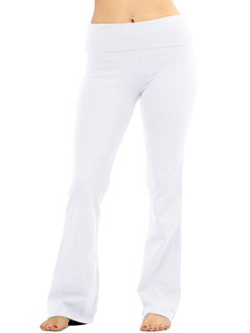 Womens Solid Foldover Lounge Flared Cotton Yoga Pants