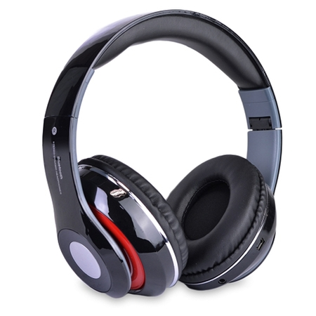 Bluetooth Rechargeable Over Ear Headset Foldable Wireless Wired Headphones with Memory Card Slot Built-In FM Tuner Microphone Audio Cable for Phone TV Computer MP3 Player ()