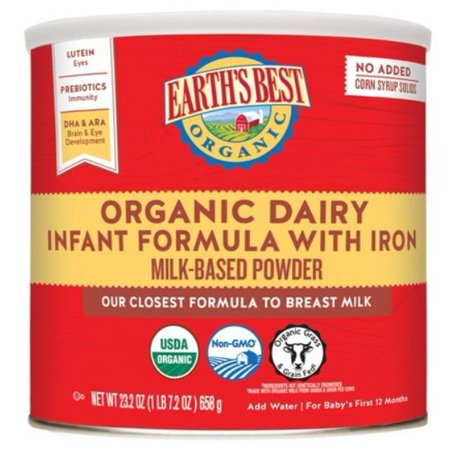 (4 pack) Earth's Best Organic Infant Powder Formula with Iron, Omega-3 DHA & Omega-6 ARA, 23.2