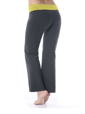 Bootcut Yoga Pants Cotton with Contrast Waistband