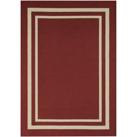 Mainstays Frame Border High Low Loop Olefin Area Rug or Runner 8' Runner Transitions Runner