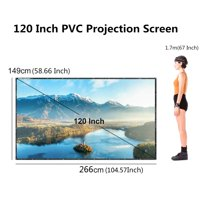 """120"""" Projector 16:9 Movie Screen Projection Screen with Foldable Tripod Stand, Manual"""