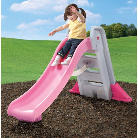 Step2 Naturally Playful Big Folding Pink Outdoor Slide for Toddlers