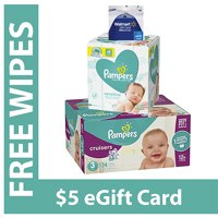 Free $5 Gift Card + Pampers Sensitive Wipes with Purchase of Pampers Cruisers Diapers