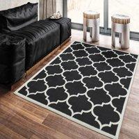 """Ottomanson Paterson Collection Contemporary Moroccan Trellis Design Lattice Area Rug, 5'3"""" x 7'0"""", Black"""