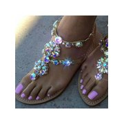49cf7af3dd745 Meigar Womens Summer Rhinestones Thong Gladiator Sandals Flats Beach  Slippers