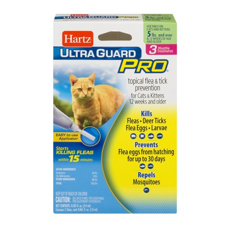 Hartz UltraGuard Pro Flea and Tick Cat Treatment, 3 Monthly