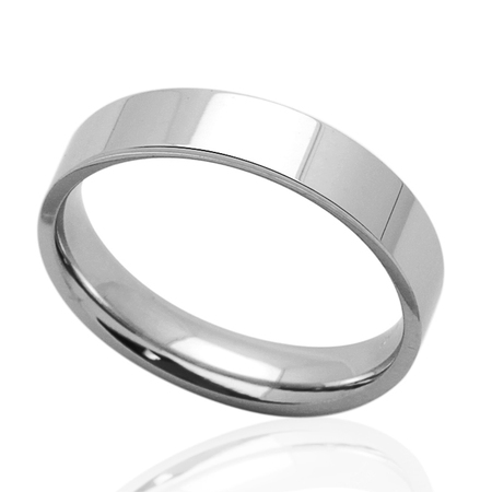 5MM Comfort Fit Stainless Steel Wedding Band Classic Flat Ring (Size 5 to - 5mm Flat Band Ring
