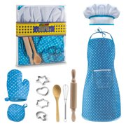 JaxoJoy Complete Kids Cooking and Baking set - 11 Pcs Includes Apron for Little Girls, Chef Hat, Mitt & Utensil for Toddler Dress Up Chef Costume Career Role Play for 3 Year Old Girls and Up - Blue