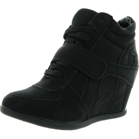 Top Moda Womens Sammy-40 High Top Strap Womens Hidden Wedge Sneaker Shoes
