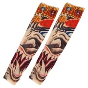 Unique Bargains 2 x Colorful Breathable Elastic Fake Tattoo Riding Cycling Sports Arm Sleeve