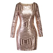 d8db1d46662 Bodycon Bandage Dresses for Women Long Sleeve Backless Glittering Sequin  Evening Party Cocktail Short Mini Club