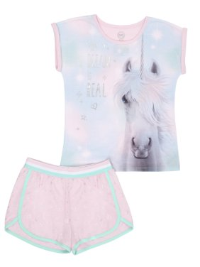 Girls' Wonder Nation 2 Piece Pajama Short Set (Little Girl & Big Girl)