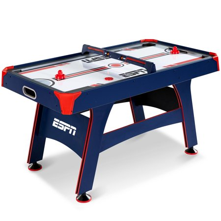 ESPN 60 Inch Air Powered Hockey Table with Overhead Electronic Scorer, UL Certified Fan Motor, All Accessories Included, Blue/Red