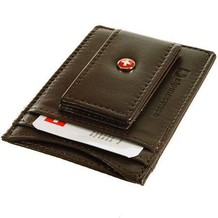 AlpineSwiss Mens Leather Money Clip Magnet Front Pocket Wallet Slim ID Card (Money Clip Id Wallet)