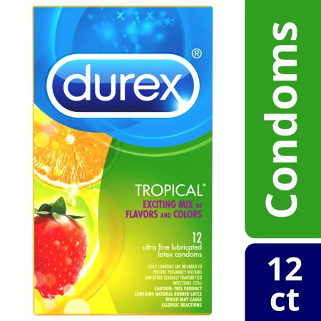 Durex Tropical Ultra-Fine Flavored Lubricated Latex Condoms Variety Pack – 12 Count - Condom Costume