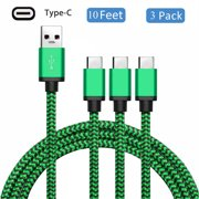 USB Type C Charging Cable (3-Pack 10ft), USB 3.1 C Nylon