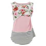 b4a191d33878c Womens Sleeveless Floral Tank Tops Striped Pregnant Maternity Nursing  Clothes Breastfeeding Loose T-Shirts Blouse