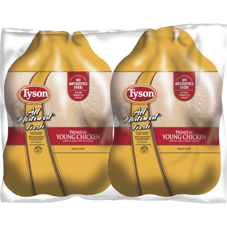 Tyson All Natural Fresh Premium Young Chicken Twin Pack 100 120