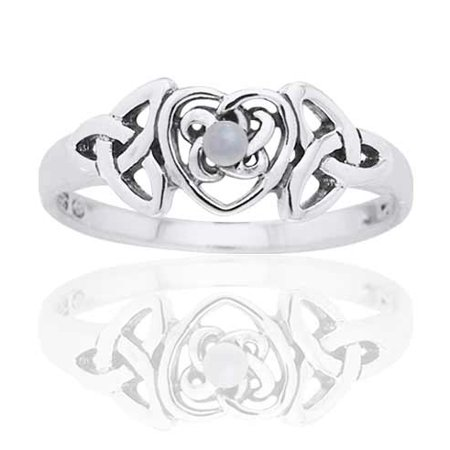 June Birthstone Ring - Sterling Silver Mother of Pearl Celtic Trinity Knot Heart