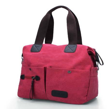 Women Men Canvas Shoulder Messenger School Crossbody Handbag Zip Tote Purse Bag,red color