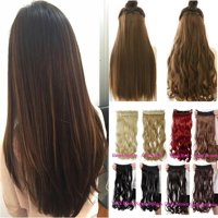 FLORATA 24-29 Inches Wavy 3/4 Full Head Clip in Hair Extensions One Piece  Hair Wigs Up to 20 colors
