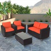 Kinbor 4pcs Outdoor Patio Furniture Pe Wicker Rattan Sofa Sectional Set