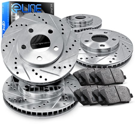 For Dodge, Jeep Nitro, Liberty Front Rear  Drill Slot Brake Rotors+Semi-Met - Drilled Front Brake