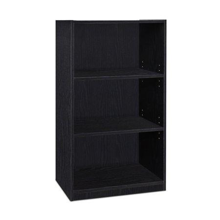 Furinno JAYA Simple Home 3-Tier Adjustable Shelf Bookcase, Blackwood