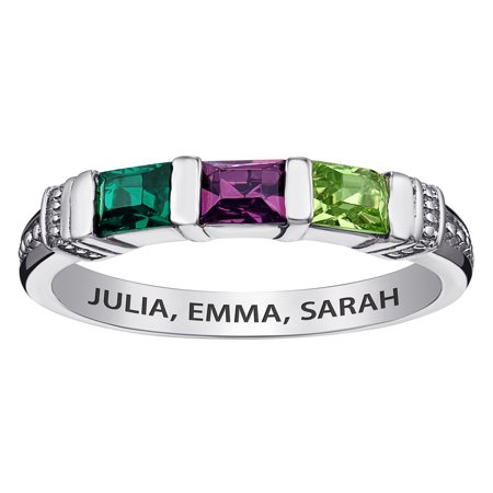 Family Jewelry Personalized Mother's Sterling Silver Square Birthstone Ring 2-5 Stones