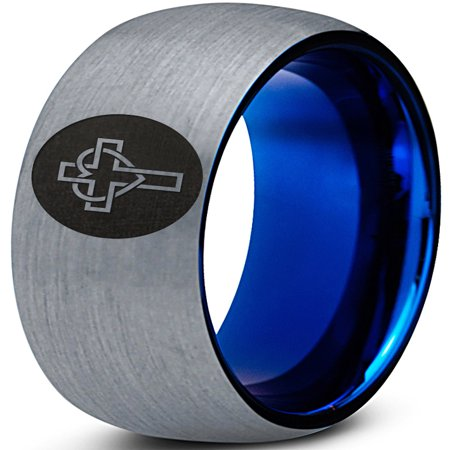 Tungsten Christian Catholic Cross Heart Shaped Band Ring 8mm Men Women Comfort Fit Blue Dome Brushed Gray - Band Heart Cross