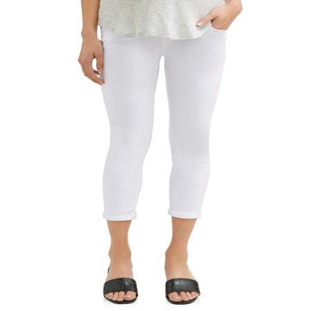 Oh! Mamma Maternity Over Belly Twill Capri Pants - Available in Plus Sizes