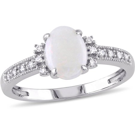 - 5/8 Carat T.G.W. Opal and Diamond-Accent 10kt White Gold Cocktail Ring