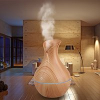 Essential Oil Diffuser and Humidifier, EEEKit 130ml Wood Grain USB Mist Humidifier Aromatherapy Diffuser Air Purifier with Multi-Color Changing LED Lights for Home Office Bedroom
