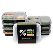 Meal Prep Haven 3 Compartment Food Storage Containers with Lids, Reusable, Microwave and Dishwasher Safe, Bento Lunch Box, Stackable (Set of 7-14)