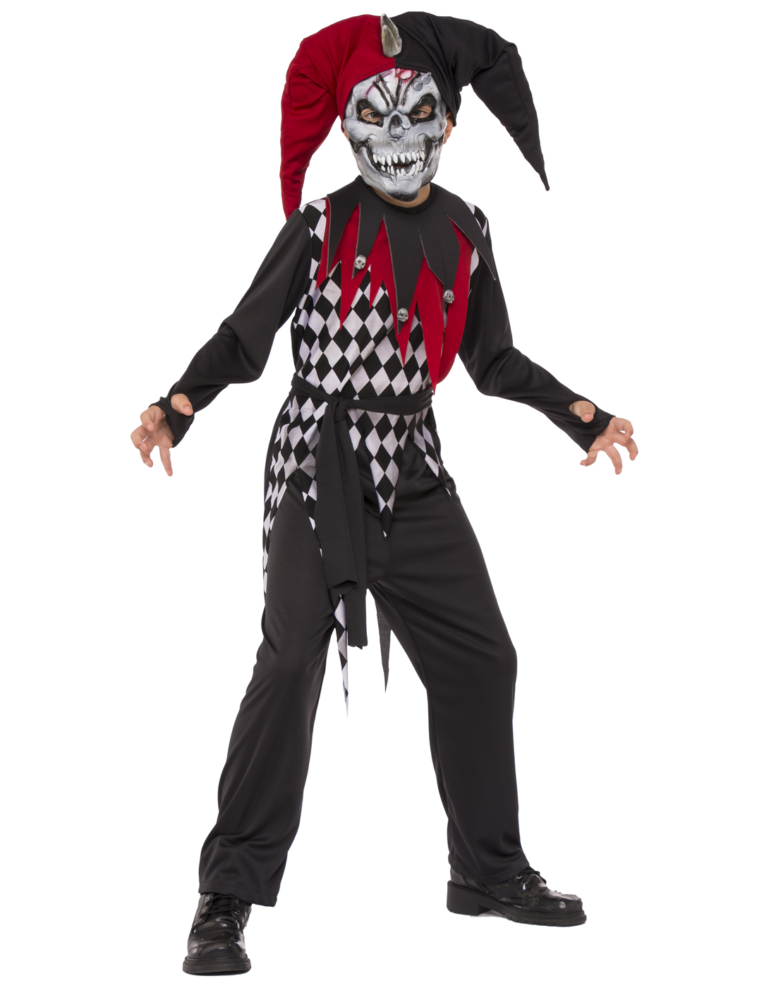Good Evil Jester Boys Demon Evil Clown Child Red Black Halloween Costume