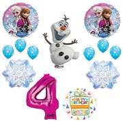 Frozen 4th Birthday Party Supplies Olaf, Elsa and Anna Balloon Bouquet Decorations Pink #4