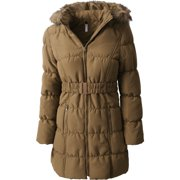 b555a428cdc36 Womens Quilted Puffer Coat with Belt Lightweight Detachable Faux Fur Hoodie Jacket  Winter Outerwear