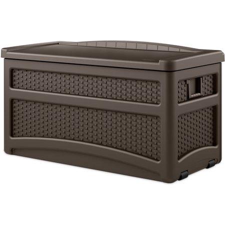 Suncast 73 Gallon Java Resin Wicker Storage Seat Deck Box with Wheels (Wicker Deck Box)