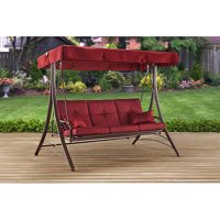 Mainstays Callimont Park 3-Seat Canopy Porch Swing Bed, Red