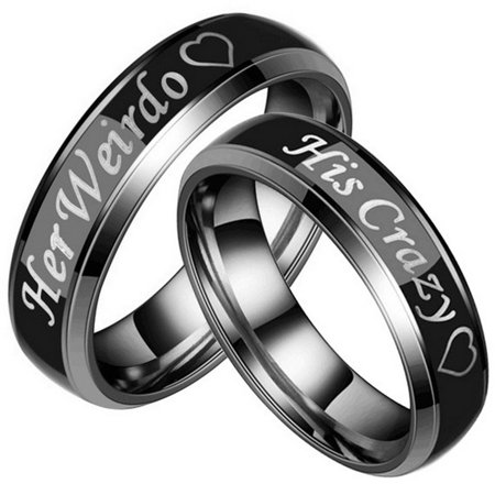 Couple's Matching Ring Her Weirdo and His Crazy Color Changing His and Her Matching Wedding Band in Stainless Steel for Men and Women, Comfort Fit (Style 1c5032) ()