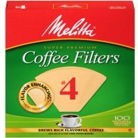 (6 Pack) Melitta #4 Natural Brown Cone Coffee Filters, 100 Ct