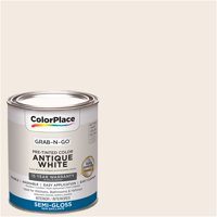 ColorPlace Pre Mixed Ready To Use, Interior Paint, Antique White, Semi-Gloss Finish, 1 Quart