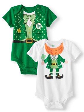 St. Patrick's Day Baby Boys' Short Sleeve Bodysuits, 2-Pack