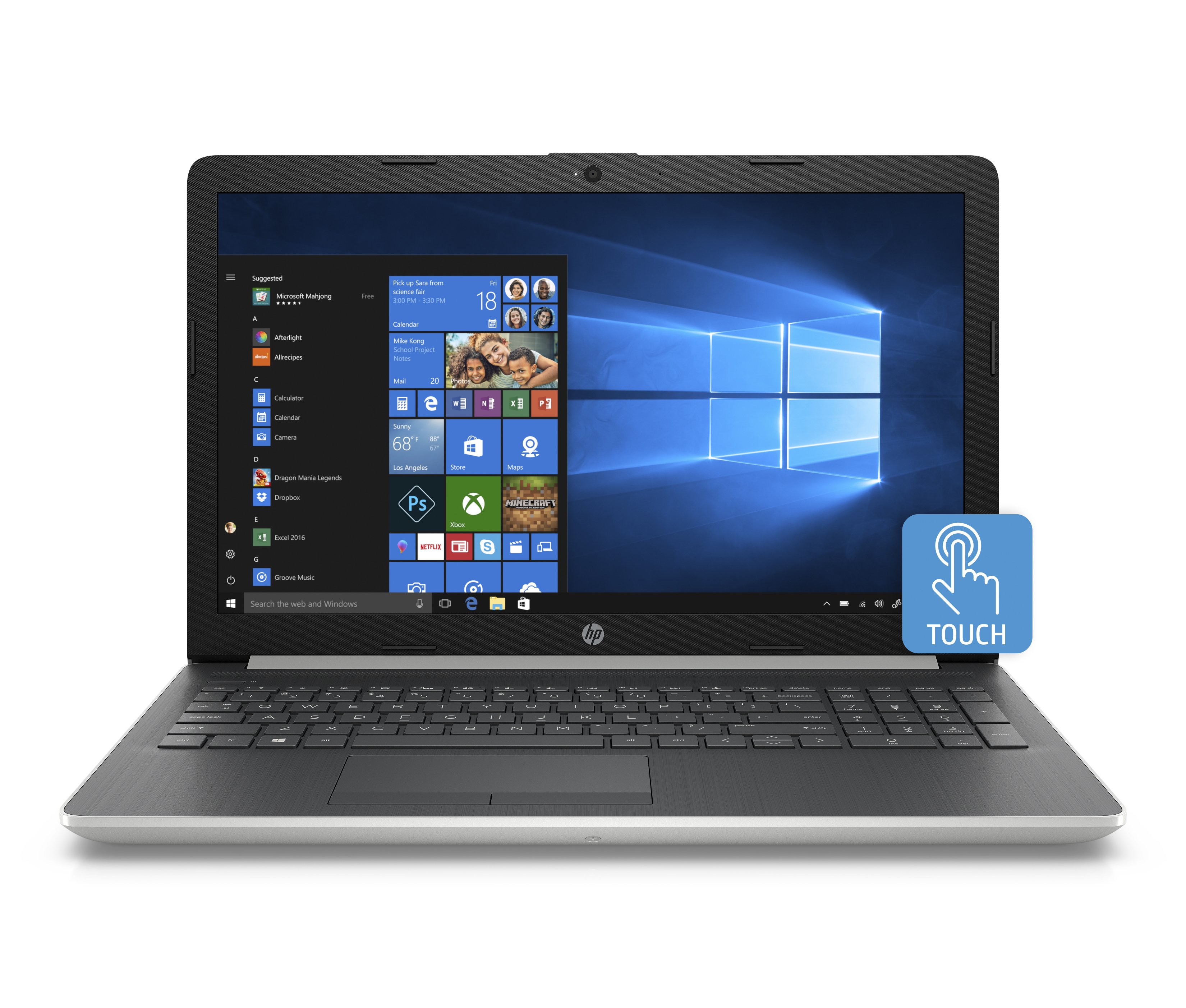 "HP 15 Graphite Mist Laptop 15.6"" Touchscreen , Intel Core i5-8250U, Intel UHD Graphics 620, 1TB HDD + 16GB Intel Optane memory, 4GB SDRAM, DVD, 15-da0053wm"