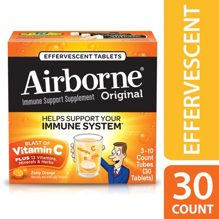 Airborne Vitamin C Tablets, Zesty Orange, 1000mg - 30 Effervescent Tablets (Airborne Witch)