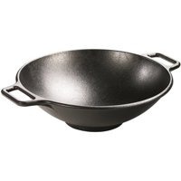 Lodge 14 Inch Wok, Seasoned Cast Iron, P14W3, with loop handles
